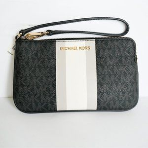 Michael Kors JST Center Stripe Wristlet MK BLACK